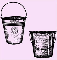 plastic bucket metal bucket handle vector image