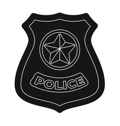 police badge icon in black style isolated on white vector image