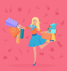 Pretty young blond with the shopping bags vector