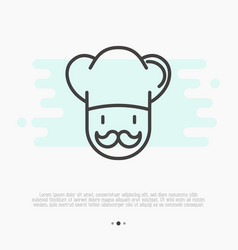 Professional chef with mustache thin line icon vector