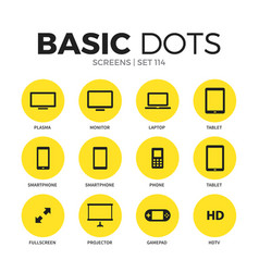 screens flat icons set vector image vector image