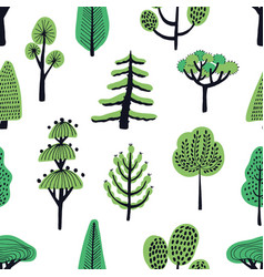 Seamless pattern with cartoon doodle trees vector