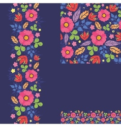 Set of summer night plants seamless pattern and vector
