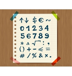 Sheet with sketch of math symbols for your design vector image