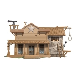 Sheriffs house prison and scaffold vector