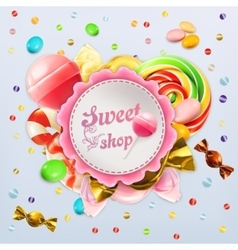 Sweet shop candy label vector image