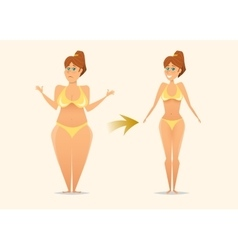 Woman before and after diet fitness vector image vector image