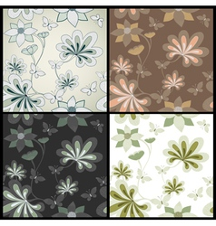 Set seamless floral pattern vector
