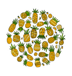 Pineapple set sketch for your design vector
