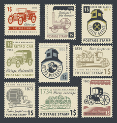 Stamps on the theme of road and rail transport vector