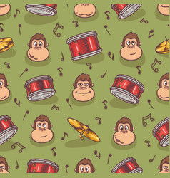 Seamless pattern with monkey and drums vector