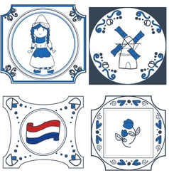 Dutch tiles hand drawn vector
