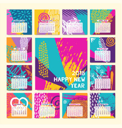 2018 fun color hand drawn new year calendar vector