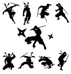 Ninja shadow siluate silhouette vector