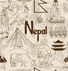 Sketch nepal seamless pattern vector