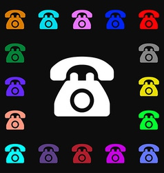 Retro telephone icon sign lots of colorful symbols vector