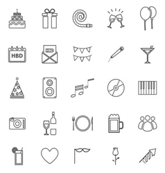 Birthday line icons on white backgound vector