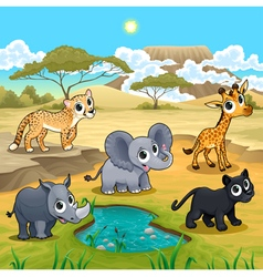 Set of funny wild animals in the nature vector