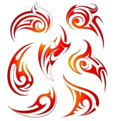 Fire flames design set vector