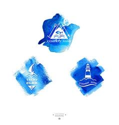 Set of yacht club logo Watercolor vector image