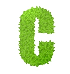 Uppecase letter c consisting of green leaves vector