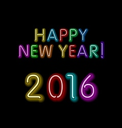 Happy new year 2016 message from neon background vector