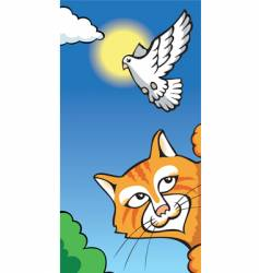 cat and dove vector image