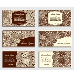 Set of invitation cards with different tree leaves vector