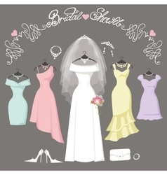 Bridal and bridesmaid dressesfashion background vector