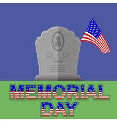 Flag of america flying over gravestone vector