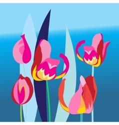 Bright background with multi-colored tulip vector