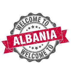 Albania round ribbon seal vector