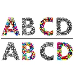 Alphabet letters a b c and d vector