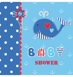 Baby shower with cute whale 3 vector image