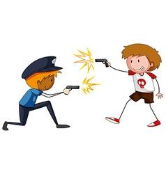 Boy and policeman shooting firegun vector image vector image