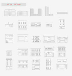building set style line icons on white vector image vector image