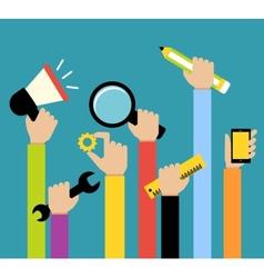 Business hands tools vector