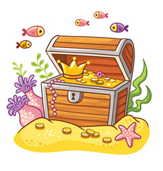 Chest with coins and crown vector