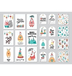 Christmas card and gift tag patterns set vector