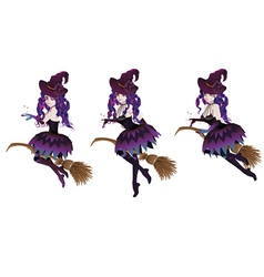 Dark witch with broom3 vector