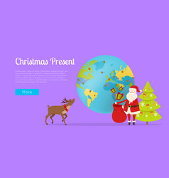 Delivery of christmas gift all around world vector