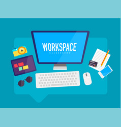 Flat design workspace in messaging cloud box vector