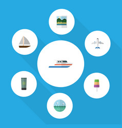 Flat icon season set of boat yacht moisturizer vector