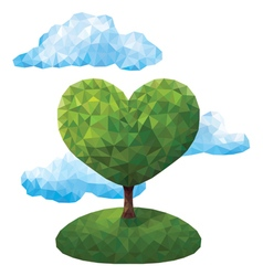 Geometric tree in the shape of a heart vector image