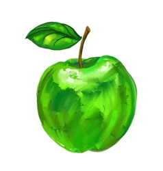 green apple hand drawn vector image
