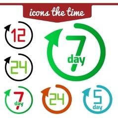Icons set hour round arrow vector image