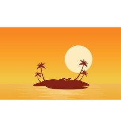 Islands scnery at sunrise of silhouettes vector