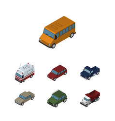 Isometric transport set of first-aid suv auto vector