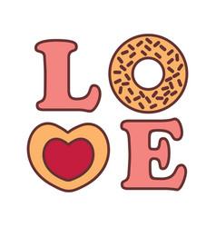 Love word typography donnut graphic vector