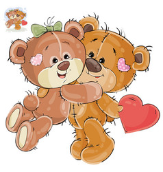 Loving brown teddy bear hides behind his vector